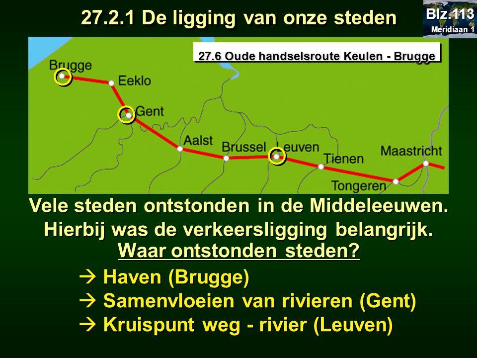 Waar ontstonden steden?  Haven (Brugge)  Samenvloeien van rivieren (Gent)  Kruispunt weg - rivier (Leuven) 27.6 Oude handselsroute Keulen - Brugge