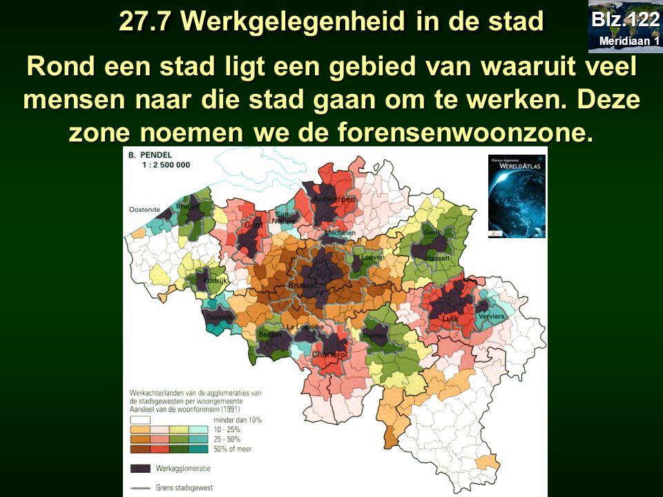 27.7 Werkgelegenheid in de stad Rond een stad ligt een gebied van waaruit veel mensen naar die stad gaan om te werken. Deze zone noemen we de forensen