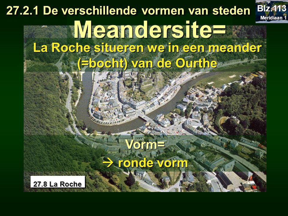 27.8 La Roche Meandersite= La Roche situeren we in een meander (=bocht) van de Ourthe 27.2.1 De verschillende vormen van steden 27.2.1 De verschillend