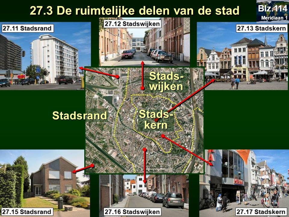 27.3 De ruimtelijke delen van de stad 27.3 De ruimtelijke delen van de stad 27.11 Stadsrand 27.12 Stadswijken 27.13 Stadskern 27.15 Stadsrand 27.16 St