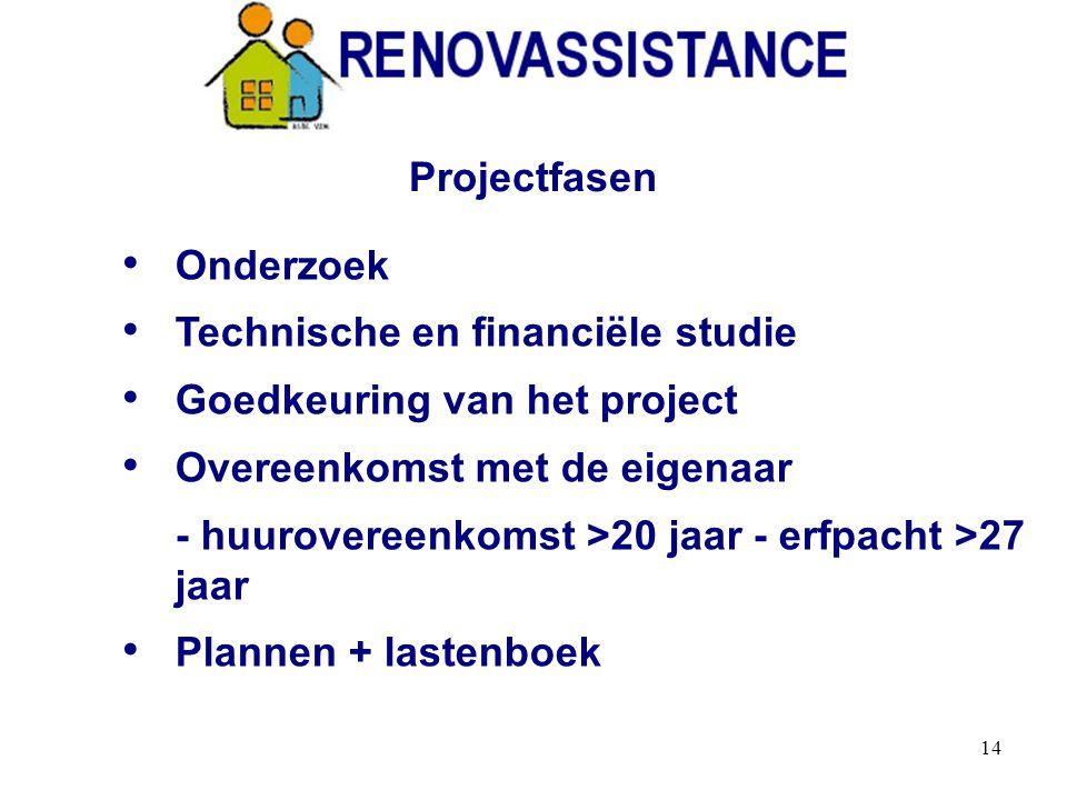 14 Onderzoek Technische en financiële studie Goedkeuring van het project Overeenkomst met de eigenaar - huurovereenkomst >20 jaar - erfpacht >27 jaar Plannen + lastenboek Projectfasen