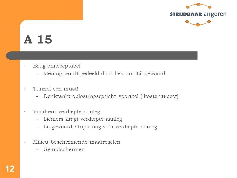 12 A 15 Brug onacceptabel − Mening wordt gedeeld door bestuur Lingewaard Tunnel een must.