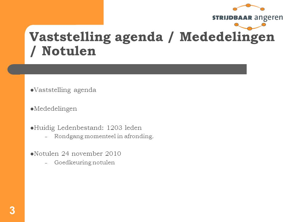 3 Vaststelling agenda / Mededelingen / Notulen Vaststelling agenda Mededelingen Huidig Ledenbestand: 1203 leden – Rondgang momenteel in afronding.