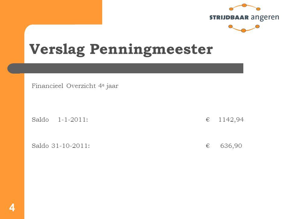 4 Verslag Penningmeester Financieel Overzicht 4 e jaar Saldo 1-1-2011: € 1142,94 Saldo 31-10-2011: € 636,90