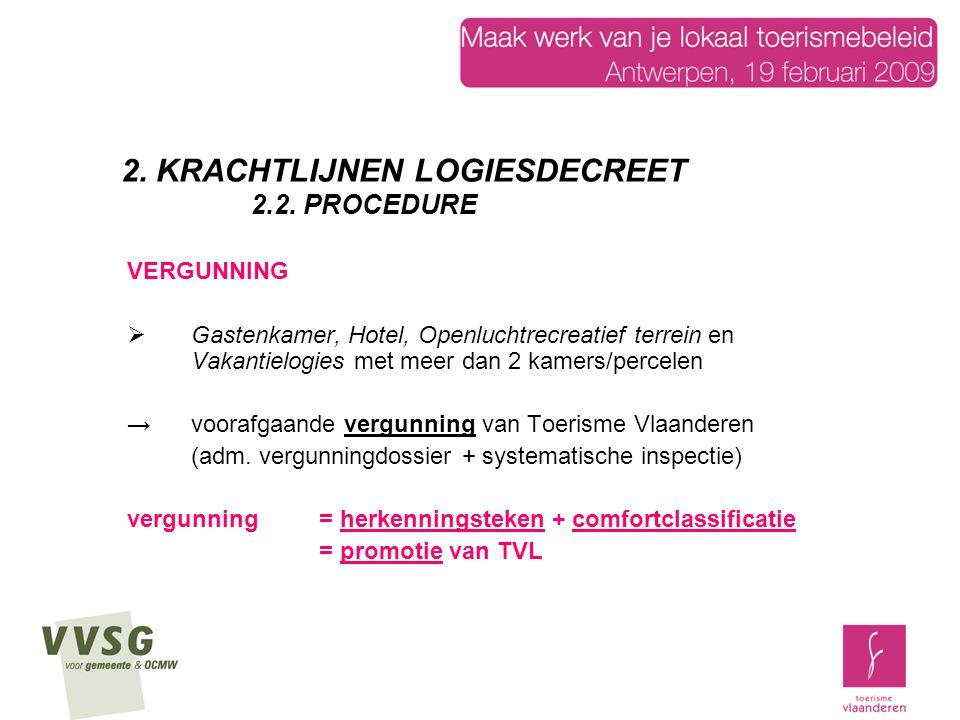 VERGUNNING  Gastenkamer, Hotel, Openluchtrecreatief terrein en Vakantielogies met meer dan 2 kamers/percelen → voorafgaande vergunning van Toerisme Vlaanderen (adm.