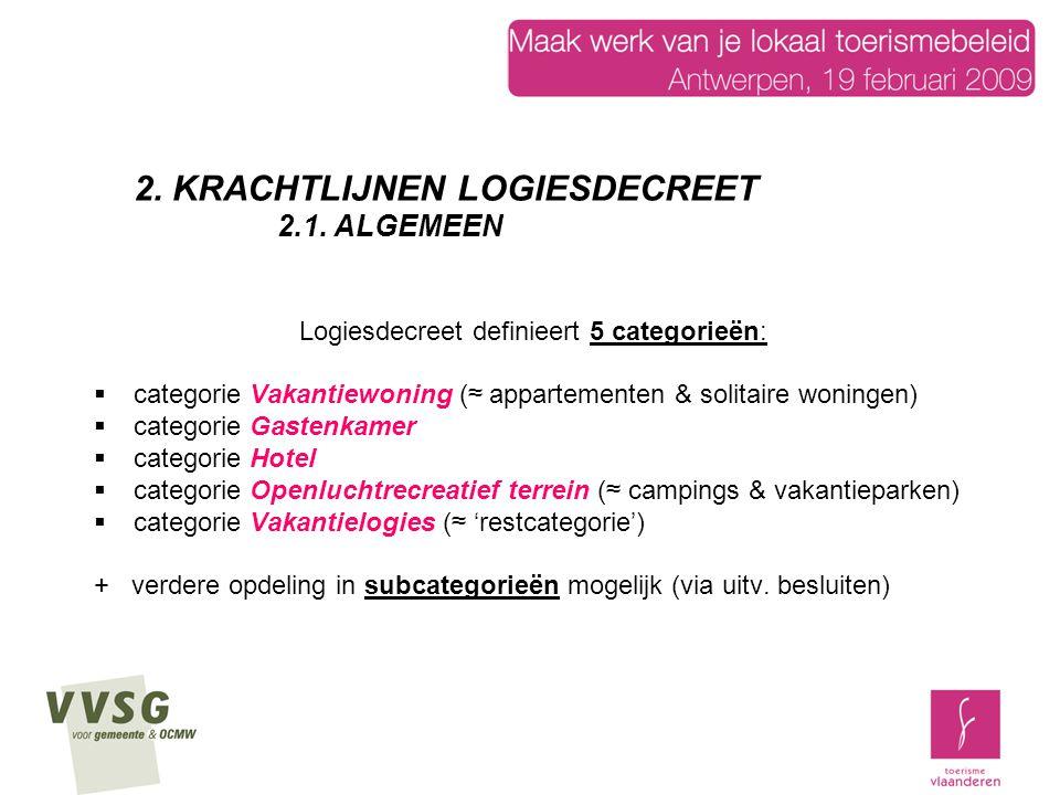 Logiesdecreet definieert 5 categorieën:  categorie Vakantiewoning (≈ appartementen & solitaire woningen)  categorie Gastenkamer  categorie Hotel 