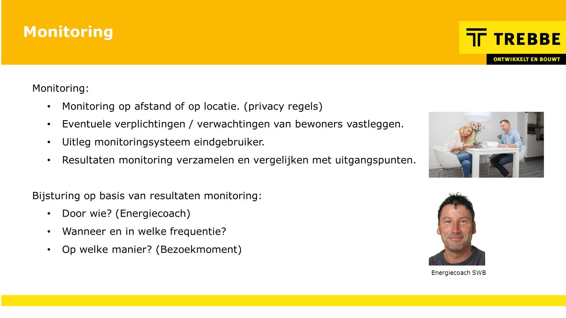 Monitoring Monitoring: Monitoring op afstand of op locatie. (privacy regels) Eventuele verplichtingen / verwachtingen van bewoners vastleggen. Uitleg