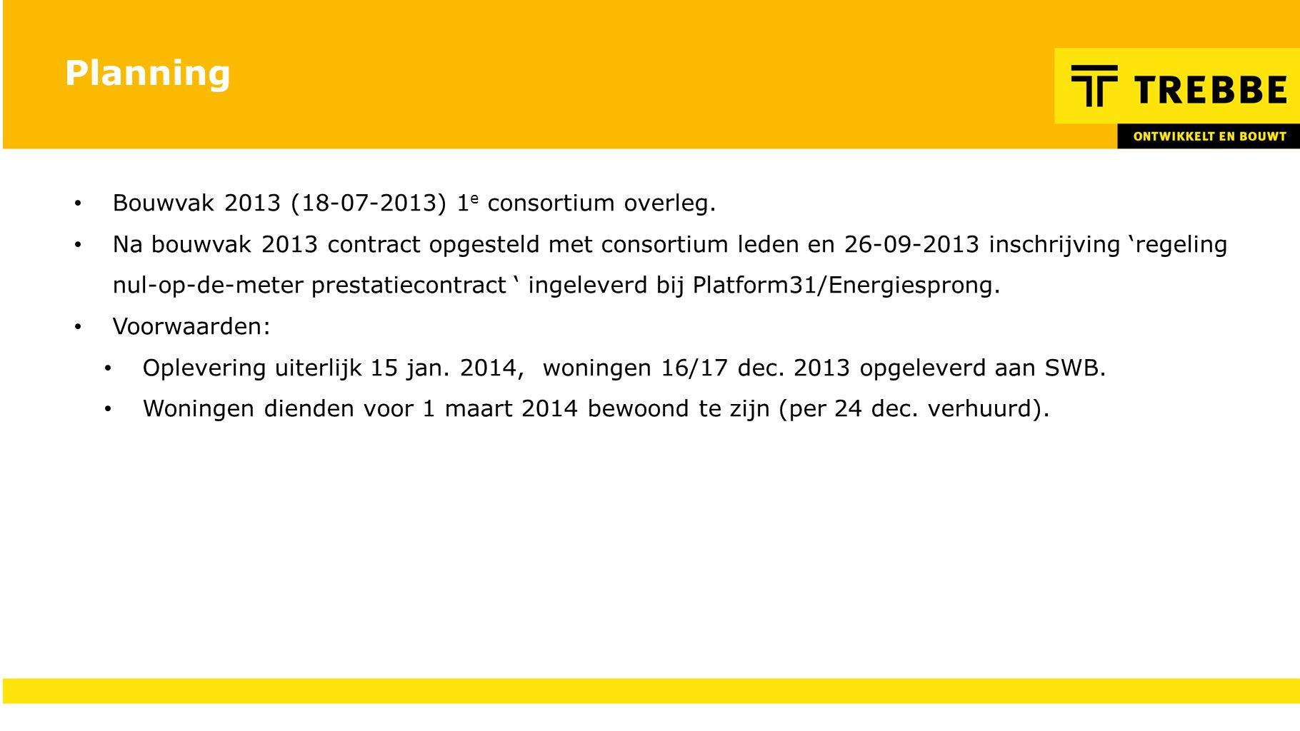 Planning Bouwvak 2013 (18-07-2013) 1 e consortium overleg. Na bouwvak 2013 contract opgesteld met consortium leden en 26-09-2013 inschrijving 'regelin