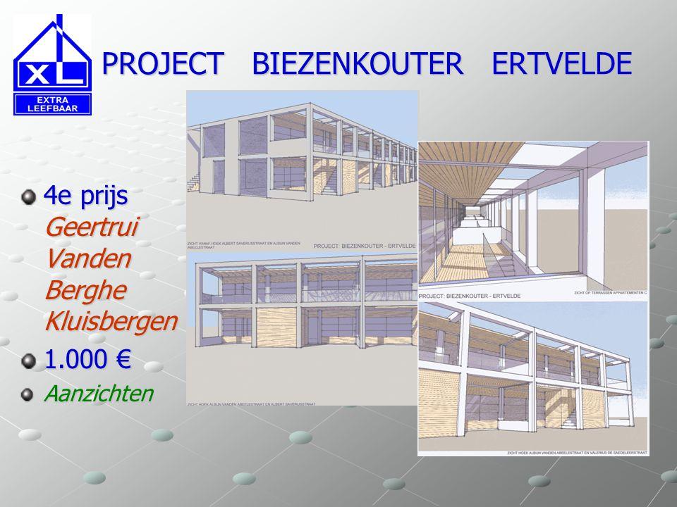 PROJECT BIEZENKOUTER ERTVELDE PROJECT BIEZENKOUTER ERTVELDE 4e prijs Geertrui Vanden Berghe Kluisbergen 1.000 € Inplanting Grondplannen