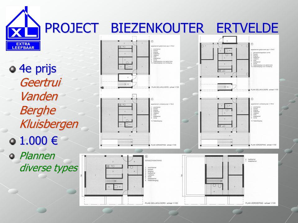 PROJECT BIEZENKOUTER ERTVELDE PROJECT BIEZENKOUTER ERTVELDE 4e prijs Geertrui Vanden Berghe Kluisbergen 1.000 € Plannen diverse types