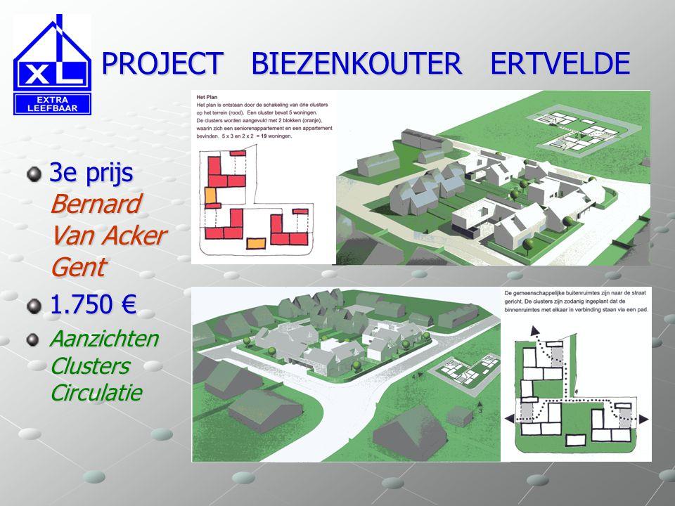 PROJECT BIEZENKOUTER ERTVELDE PROJECT BIEZENKOUTER ERTVELDE 3e prijs Bernard Van Acker Gent 1.750 € Aanzichten Clusters Circulatie