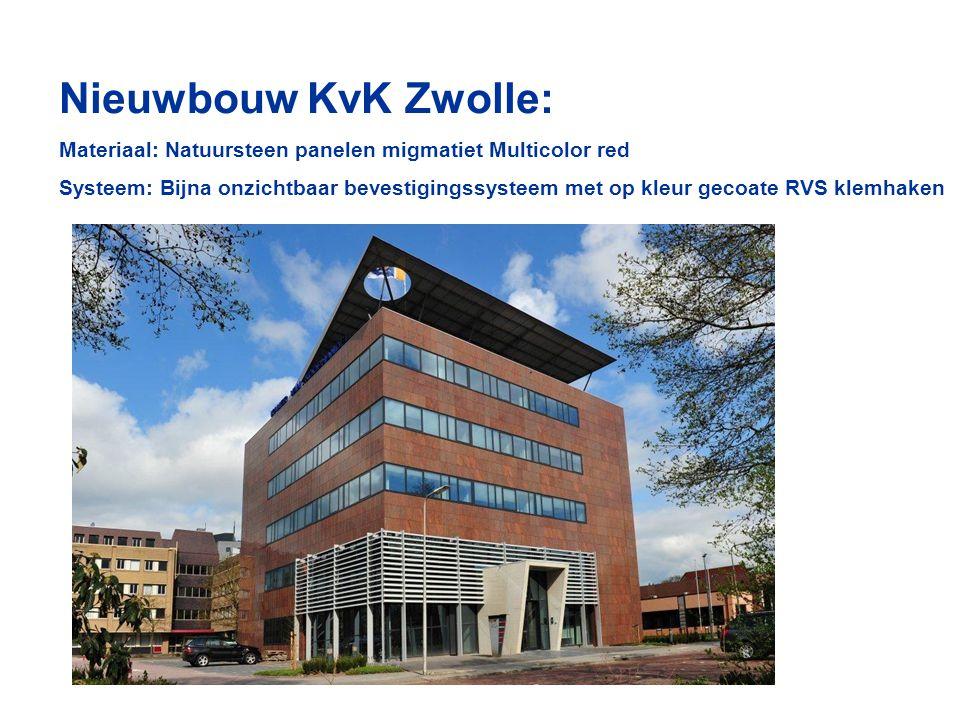 Nieuwbouw KvK Zwolle: Materiaal: Natuursteen panelen migmatiet Multicolor red Systeem: Bijna onzichtbaar bevestigingssysteem met op kleur gecoate RVS klemhaken