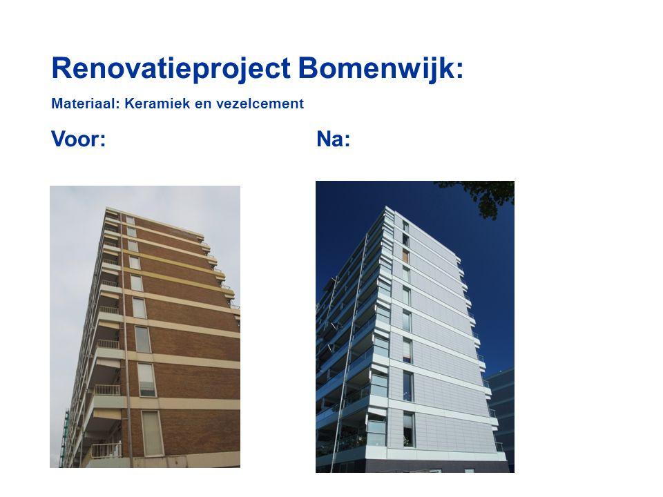 Renovatieproject Bomenwijk: Materiaal: Keramiek en vezelcement Voor:Na: