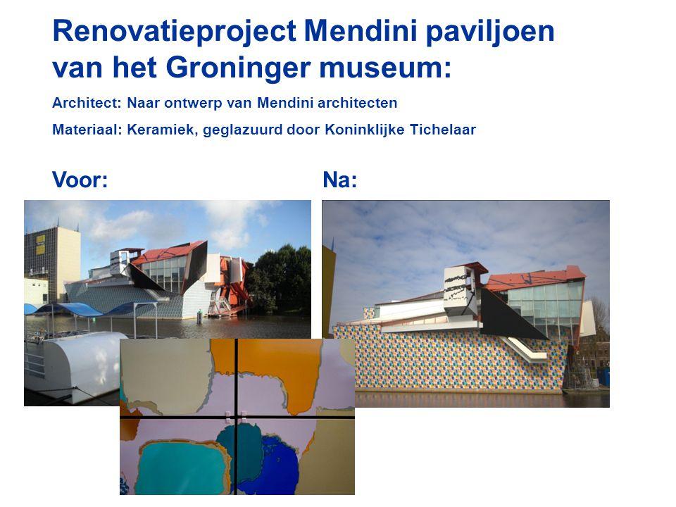 Renovatieproject Mendini paviljoen van het Groninger museum: Architect: Naar ontwerp van Mendini architecten Materiaal: Keramiek, geglazuurd door Koninklijke Tichelaar Voor:Na: