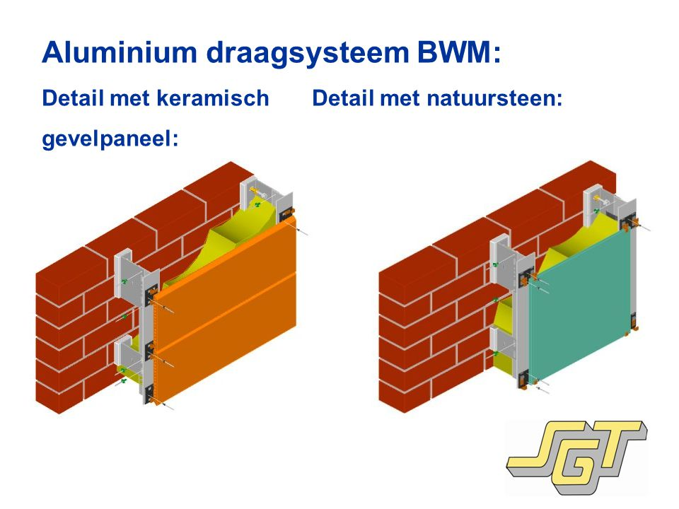 Aluminium draagsysteem BWM: Detail met keramisch Detail met natuursteen: gevelpaneel: