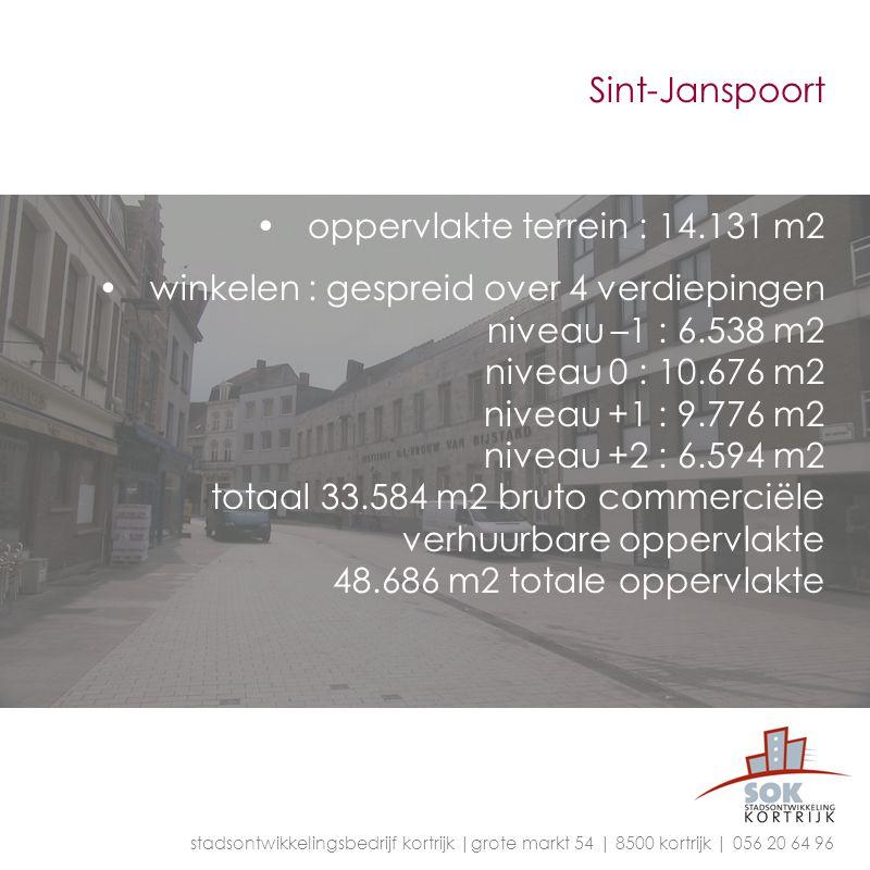 Sint-Janspoort oppervlakte terrein : 14.131 m2 winkelen : gespreid over 4 verdiepingen niveau –1 : 6.538 m2 niveau 0 : 10.676 m2 niveau +1 : 9.776 m2