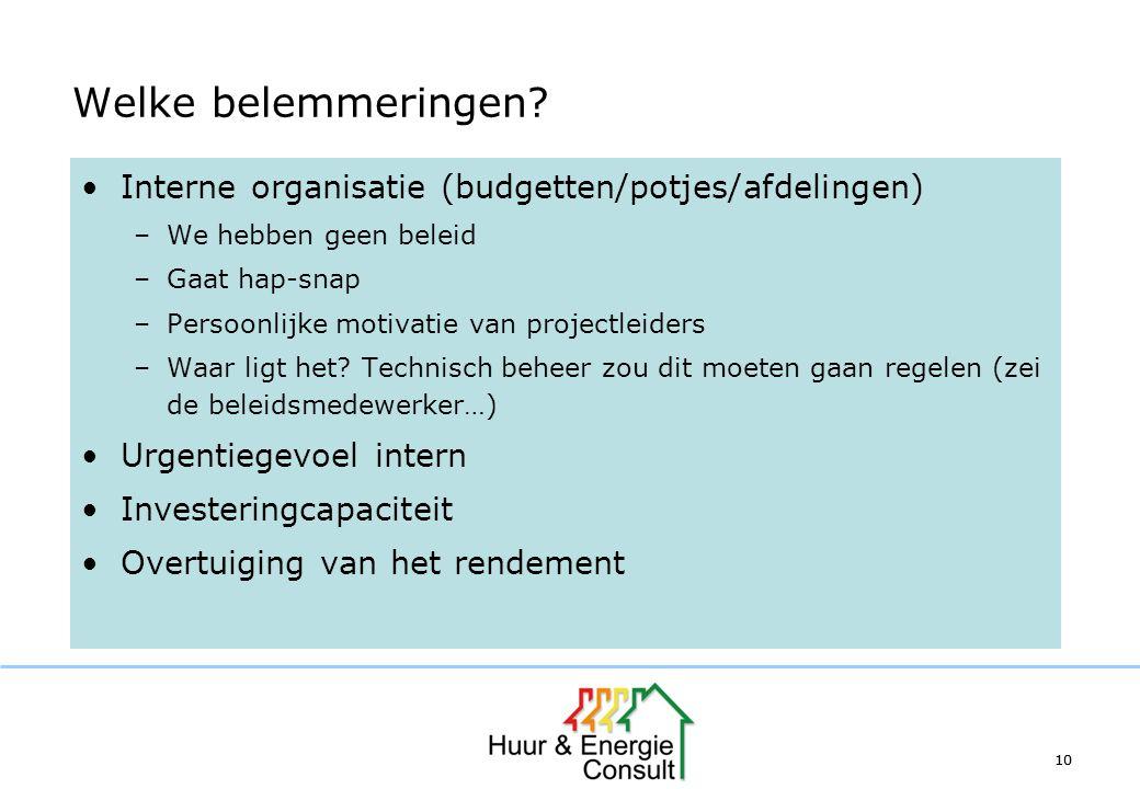 10 Welke belemmeringen? Interne organisatie (budgetten/potjes/afdelingen) –We hebben geen beleid –Gaat hap-snap –Persoonlijke motivatie van projectlei