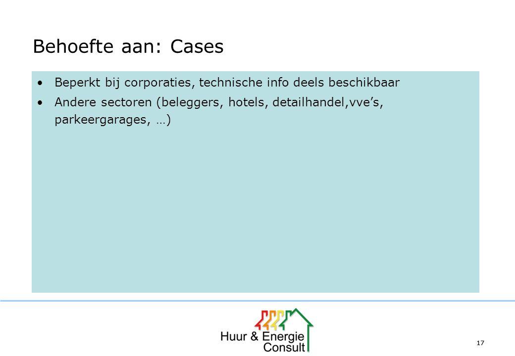 17 Behoefte aan: Cases Beperkt bij corporaties, technische info deels beschikbaar Andere sectoren (beleggers, hotels, detailhandel,vve's, parkeergarag