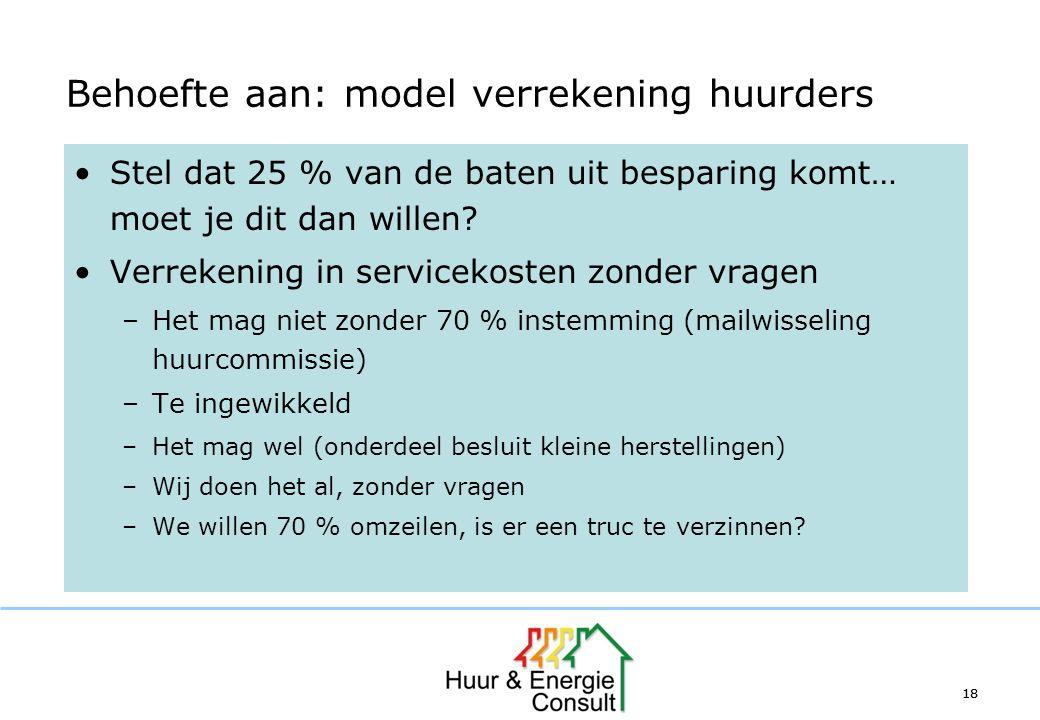 18 Behoefte aan: model verrekening huurders Stel dat 25 % van de baten uit besparing komt… moet je dit dan willen? Verrekening in servicekosten zonder