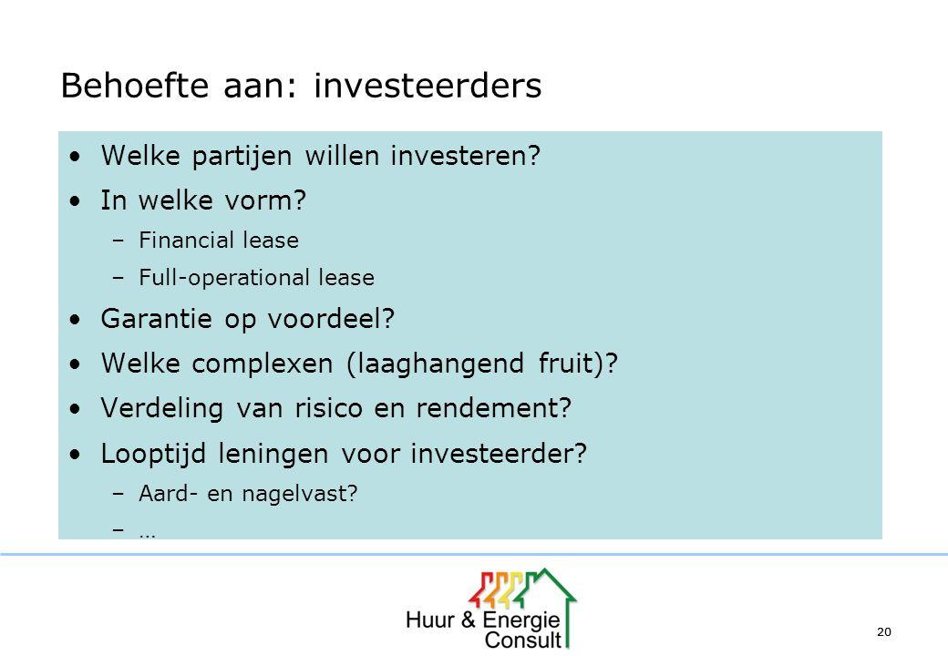 20 Behoefte aan: investeerders Welke partijen willen investeren? In welke vorm? –Financial lease –Full-operational lease Garantie op voordeel? Welke c