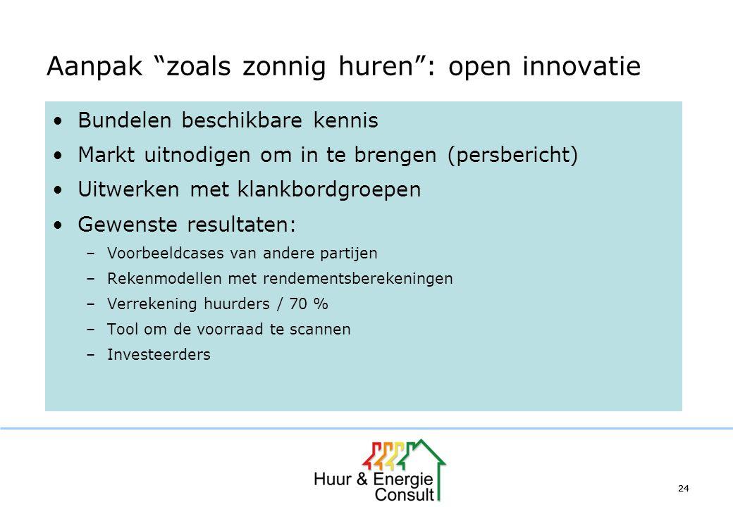 """24 Aanpak """"zoals zonnig huren"""": open innovatie Bundelen beschikbare kennis Markt uitnodigen om in te brengen (persbericht) Uitwerken met klankbordgroe"""