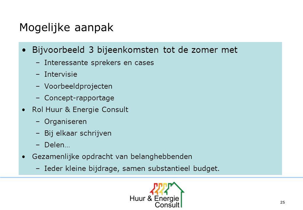 25 Mogelijke aanpak Bijvoorbeeld 3 bijeenkomsten tot de zomer met –Interessante sprekers en cases –Intervisie –Voorbeeldprojecten –Concept-rapportage