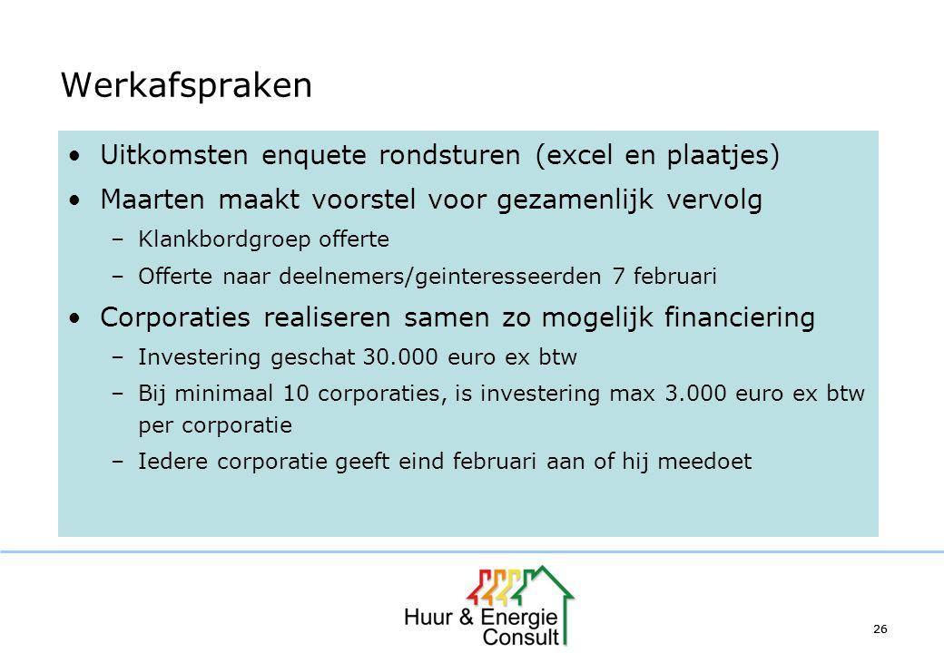 26 Werkafspraken Uitkomsten enquete rondsturen (excel en plaatjes) Maarten maakt voorstel voor gezamenlijk vervolg –Klankbordgroep offerte –Offerte na