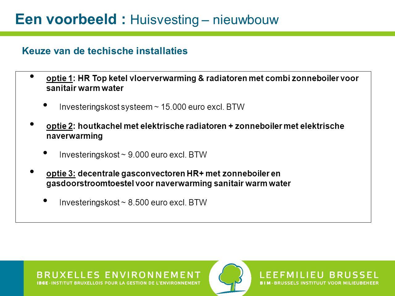 Een voorbeeld : Huisvesting – nieuwbouw optie 1: HR Top ketel vloerverwarming & radiatoren met combi zonneboiler voor sanitair warm water Investeringskost systeem ~ 15.000 euro excl.