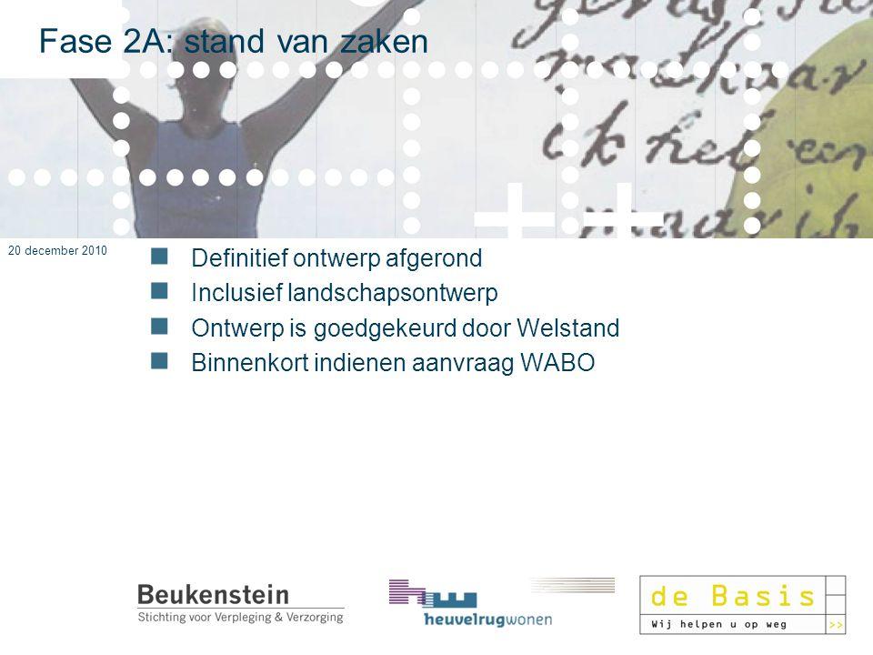 20 december 2010 Fase 2A: stand van zaken Definitief ontwerp afgerond Inclusief landschapsontwerp Ontwerp is goedgekeurd door Welstand Binnenkort indi