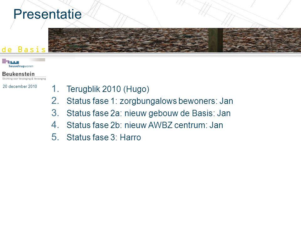 20 december 2010 Presentatie 1. Terugblik 2010 (Hugo) 2. Status fase 1: zorgbungalows bewoners: Jan 3. Status fase 2a: nieuw gebouw de Basis: Jan 4. S