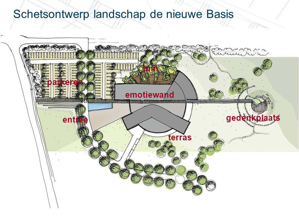 20 december 2010 Schetsontwerp landschap de nieuwe Basis parkeren entree gedenkplaats tuin emotiewand terras