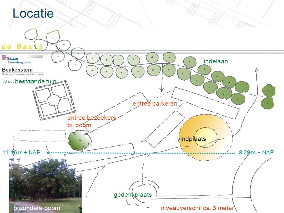 20 december 2010 Locatie niveauverschil ca. 3 meter vindplaats entree parkeren bestaande tuin lindelaan gedenkplaats entree bezoekers bij boom 11,16 m