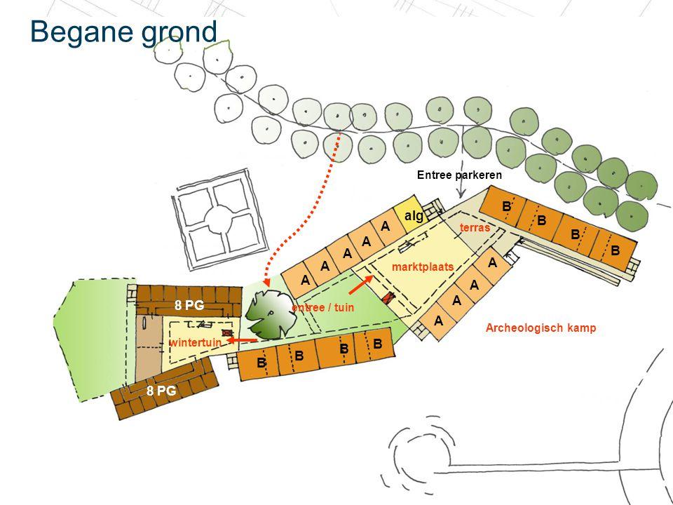 20 december 2010 Begane grond A B B B B A A alg A B B B B A A A A A 8 PG marktplaats wintertuin Archeologisch kamp entree / tuin terras Entree parkere
