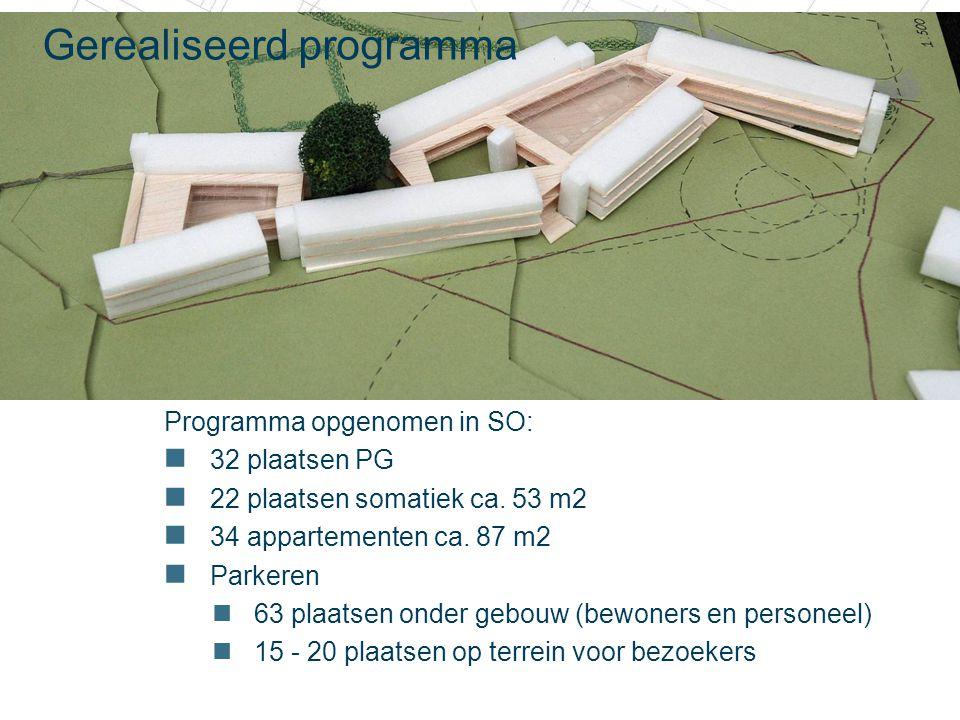 20 december 2010 Gerealiseerd programma Programma opgenomen in SO: 32 plaatsen PG 22 plaatsen somatiek ca. 53 m2 34 appartementen ca. 87 m2 Parkeren 6