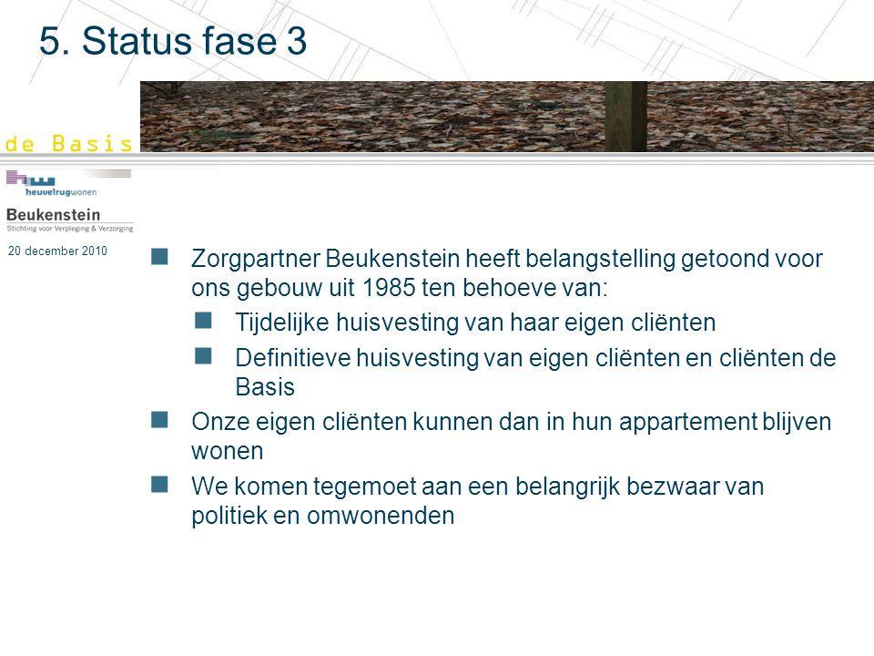 20 december 2010 5. Status fase 3 Zorgpartner Beukenstein heeft belangstelling getoond voor ons gebouw uit 1985 ten behoeve van: Tijdelijke huisvestin