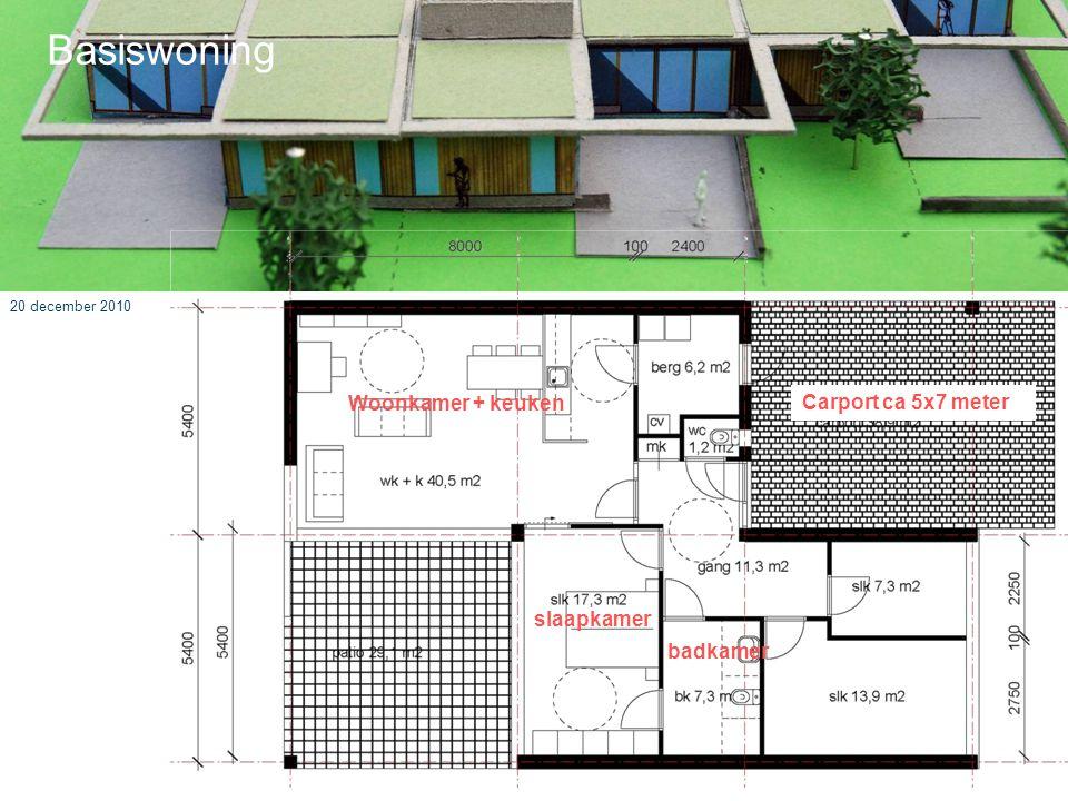 20 december 2010 Basiswoning Woonkamer + keuken badkamer slaapkamer Carport ca 5x7 meter