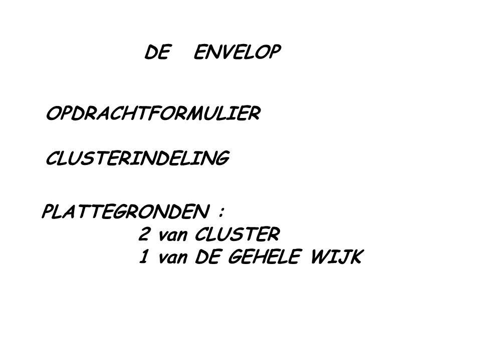 DE ENVELOP OPDRACHTFORMULIER CLUSTERINDELING PLATTEGRONDEN : 2 van CLUSTER 1 van DE GEHELE WIJK