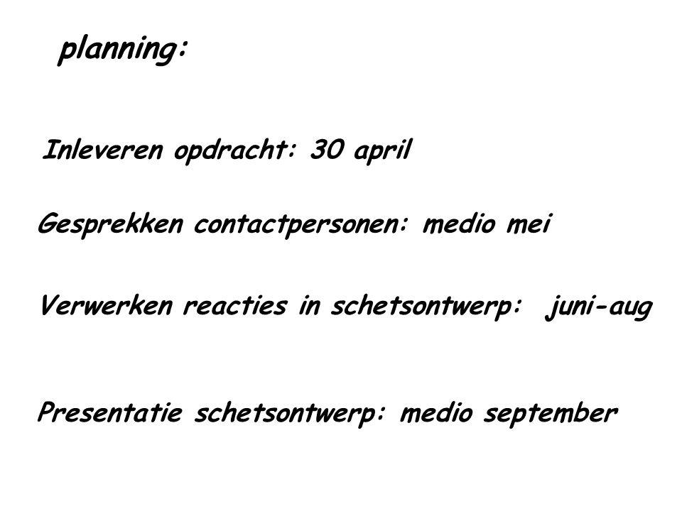 planning: Inleveren opdracht: 30 april Gesprekken contactpersonen: medio mei Presentatie schetsontwerp: medio september Verwerken reacties in schetson