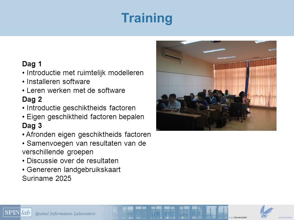 Training Dag 1 Introductie met ruimtelijk modelleren Installeren software Leren werken met de software Dag 2 Introductie geschiktheids factoren Eigen