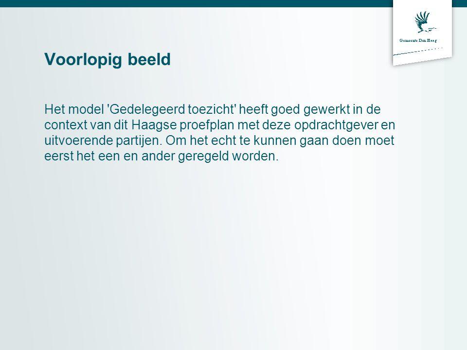 Voorlopig beeld Het model Gedelegeerd toezicht heeft goed gewerkt in de context van dit Haagse proefplan met deze opdrachtgever en uitvoerende partijen.