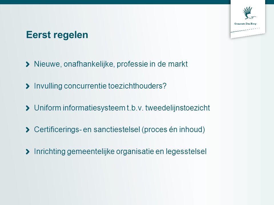 Eerst regelen Nieuwe, onafhankelijke, professie in de markt Invulling concurrentie toezichthouders.