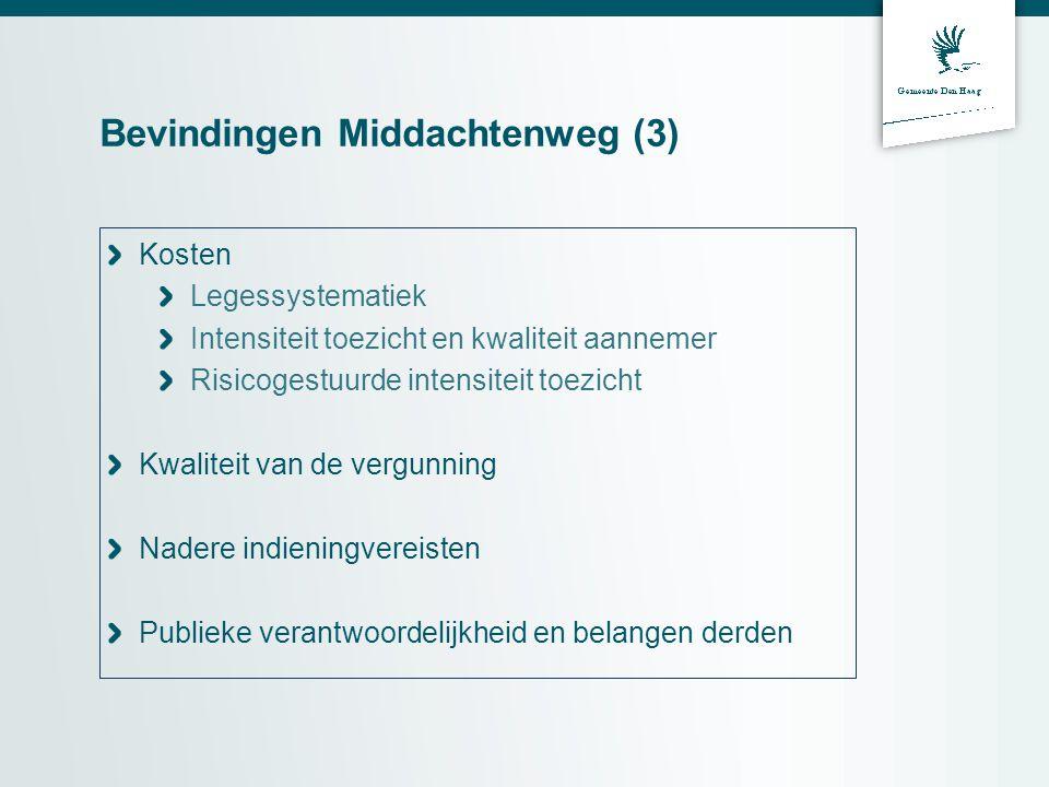Bevindingen Middachtenweg (3) Kosten Legessystematiek Intensiteit toezicht en kwaliteit aannemer Risicogestuurde intensiteit toezicht Kwaliteit van de vergunning Nadere indieningvereisten Publieke verantwoordelijkheid en belangen derden