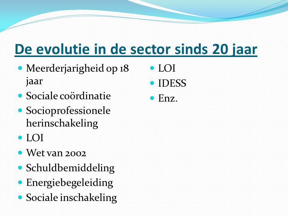De evolutie in de sector sinds 20 jaar Meerderjarigheid op 18 jaar Sociale coördinatie Socioprofessionele herinschakeling LOI Wet van 2002 Schuldbemid