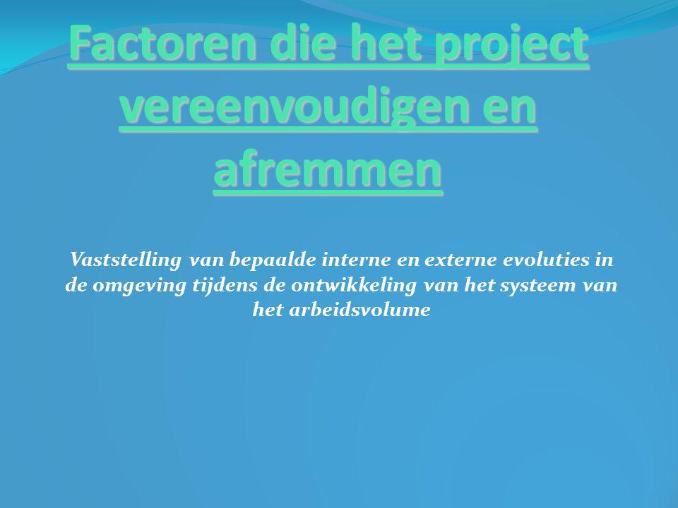 Factoren die het project vereenvoudigen en afremmen Vaststelling van bepaalde interne en externe evoluties in de omgeving tijdens de ontwikkeling van