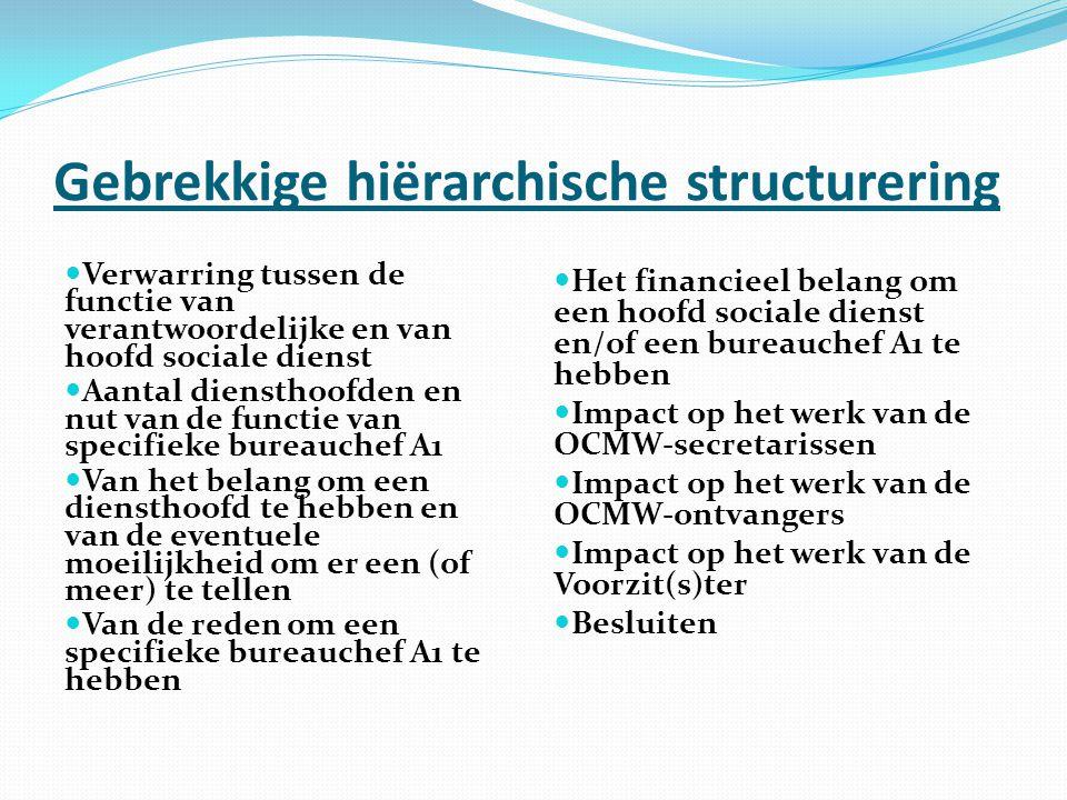 Gebrekkige hiërarchische structurering Verwarring tussen de functie van verantwoordelijke en van hoofd sociale dienst Aantal diensthoofden en nut van