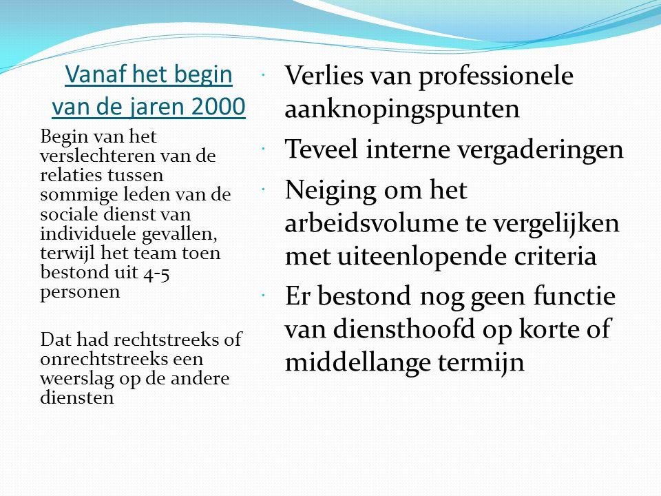 Vanaf het begin van de jaren 2000  Verlies van professionele aanknopingspunten  Teveel interne vergaderingen  Neiging om het arbeidsvolume te verge
