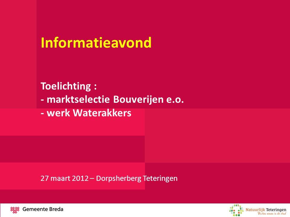 Informatieavond Toelichting : - marktselectie Bouverijen e.o. - werk Waterakkers 27 maart 2012 – Dorpsherberg Teteringen