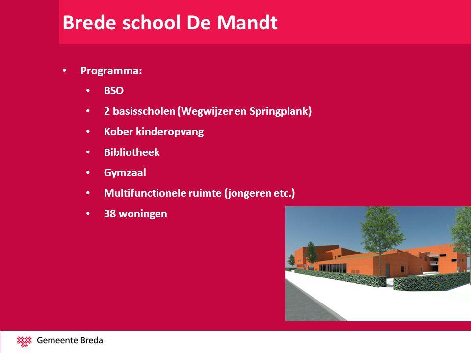 Brede school De Mandt Programma: BSO 2 basisscholen (Wegwijzer en Springplank) Kober kinderopvang Bibliotheek Gymzaal Multifunctionele ruimte (jongere