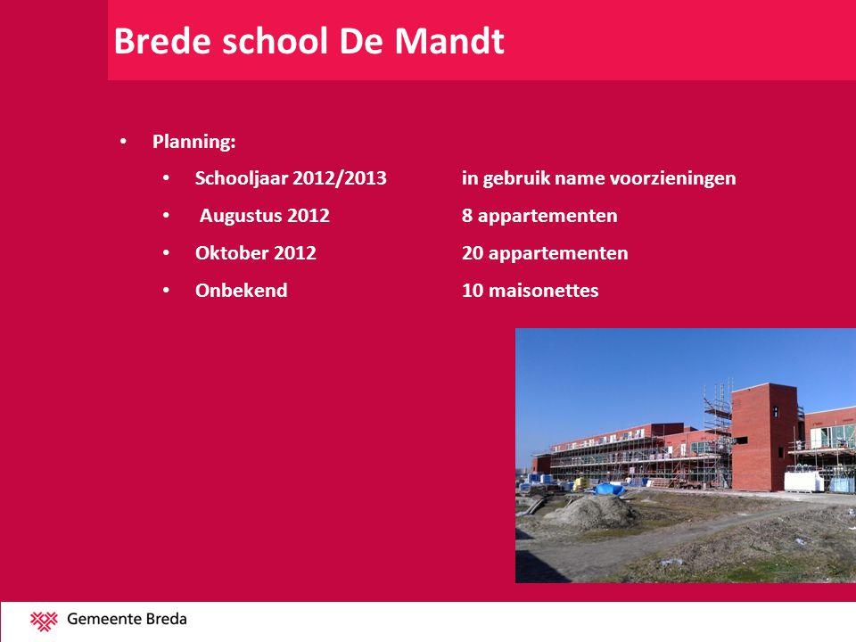 Brede school De Mandt Planning: Schooljaar 2012/2013 in gebruik name voorzieningen Augustus 20128 appartementen Oktober 201220 appartementen Onbekend1