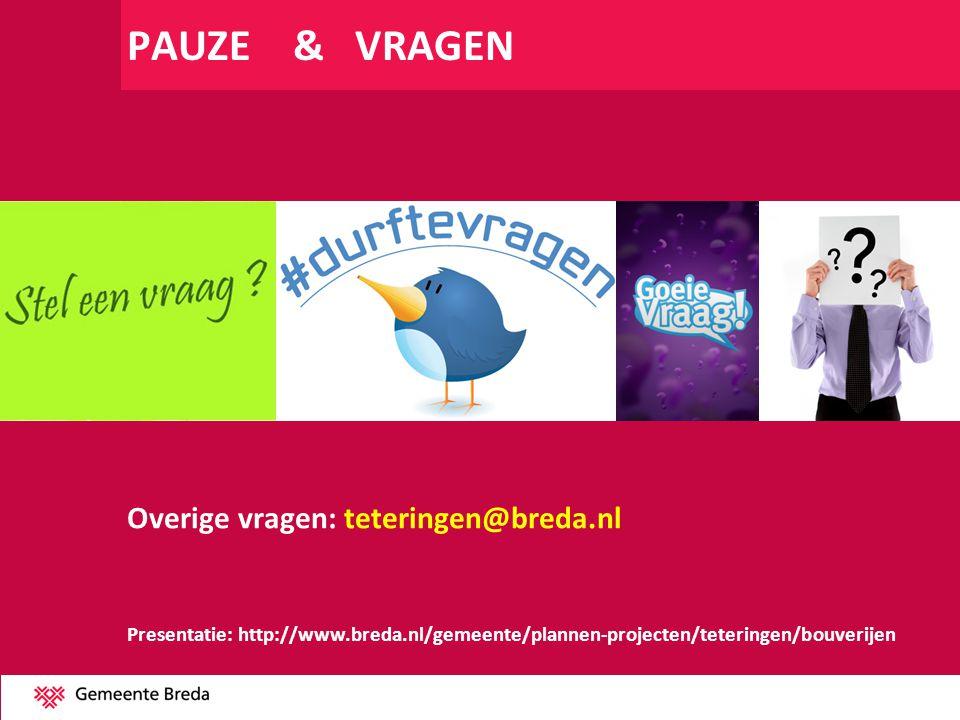 PAUZE & VRAGEN Overige vragen: teteringen@breda.nl Presentatie: http://www.breda.nl/gemeente/plannen-projecten/teteringen/bouverijen